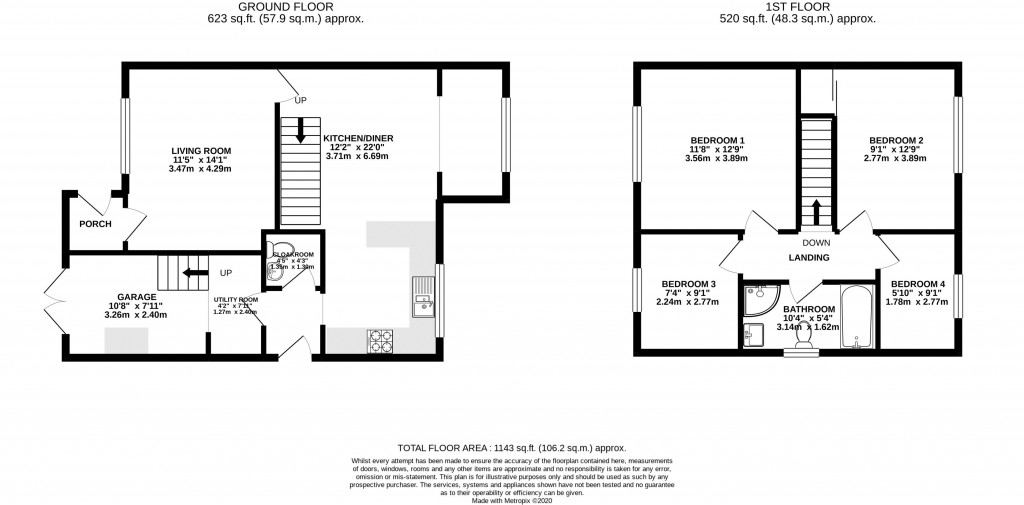 Floorplan for Tovey Close, Worle/Kewstoke borders - 4 BED SEMI