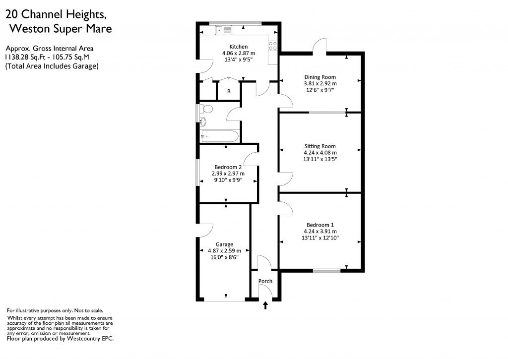 Floorplan for Channel Heights, Bleadon Hill - VERY QUIET LOCATION