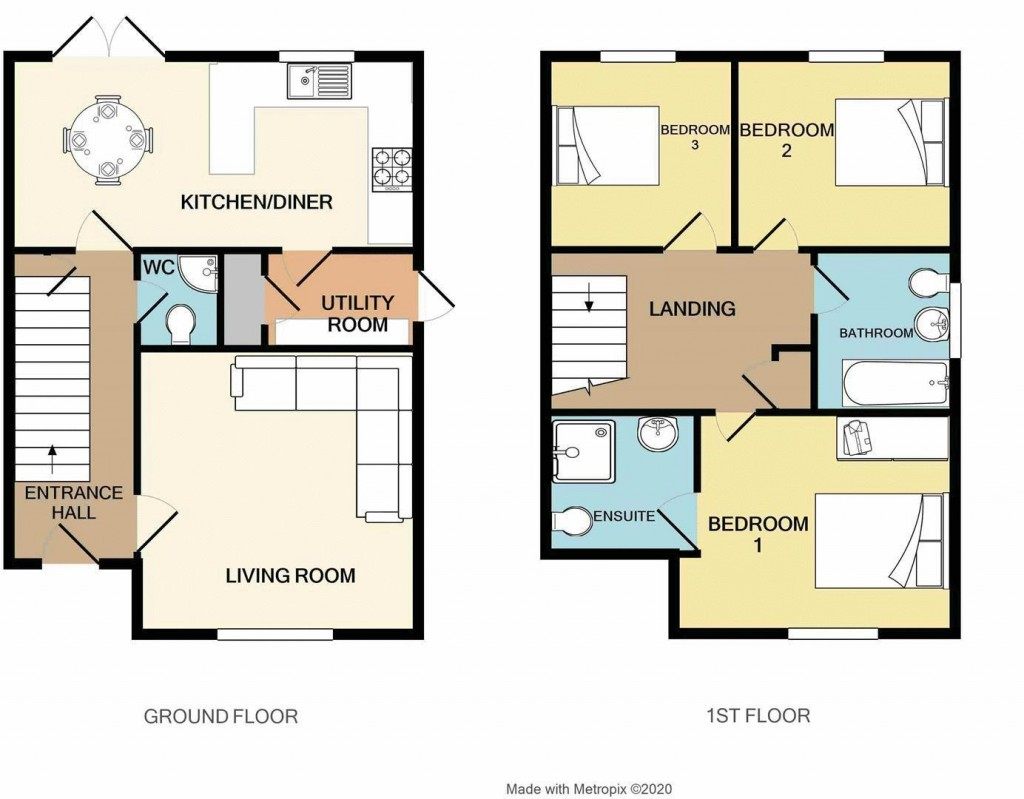 Floorplan for Leonides Avenue, Haywood Village - 3 DOUBLE BEDS