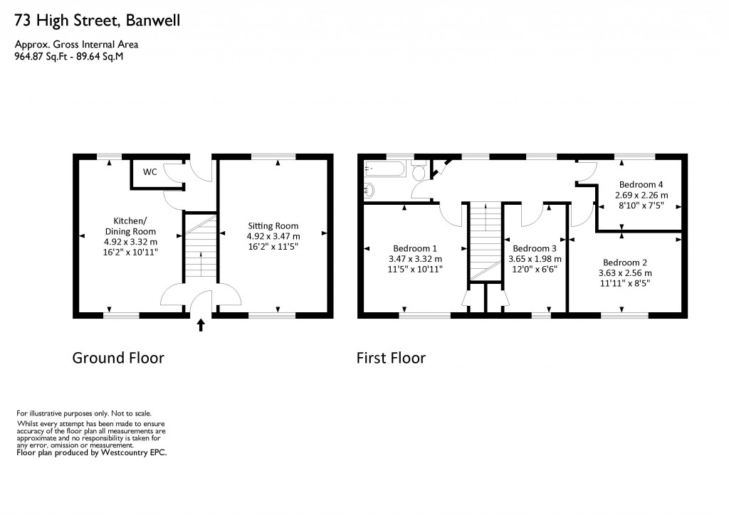 Floorplan for High Street, Banwell - LOOK AT THAT VIEW!