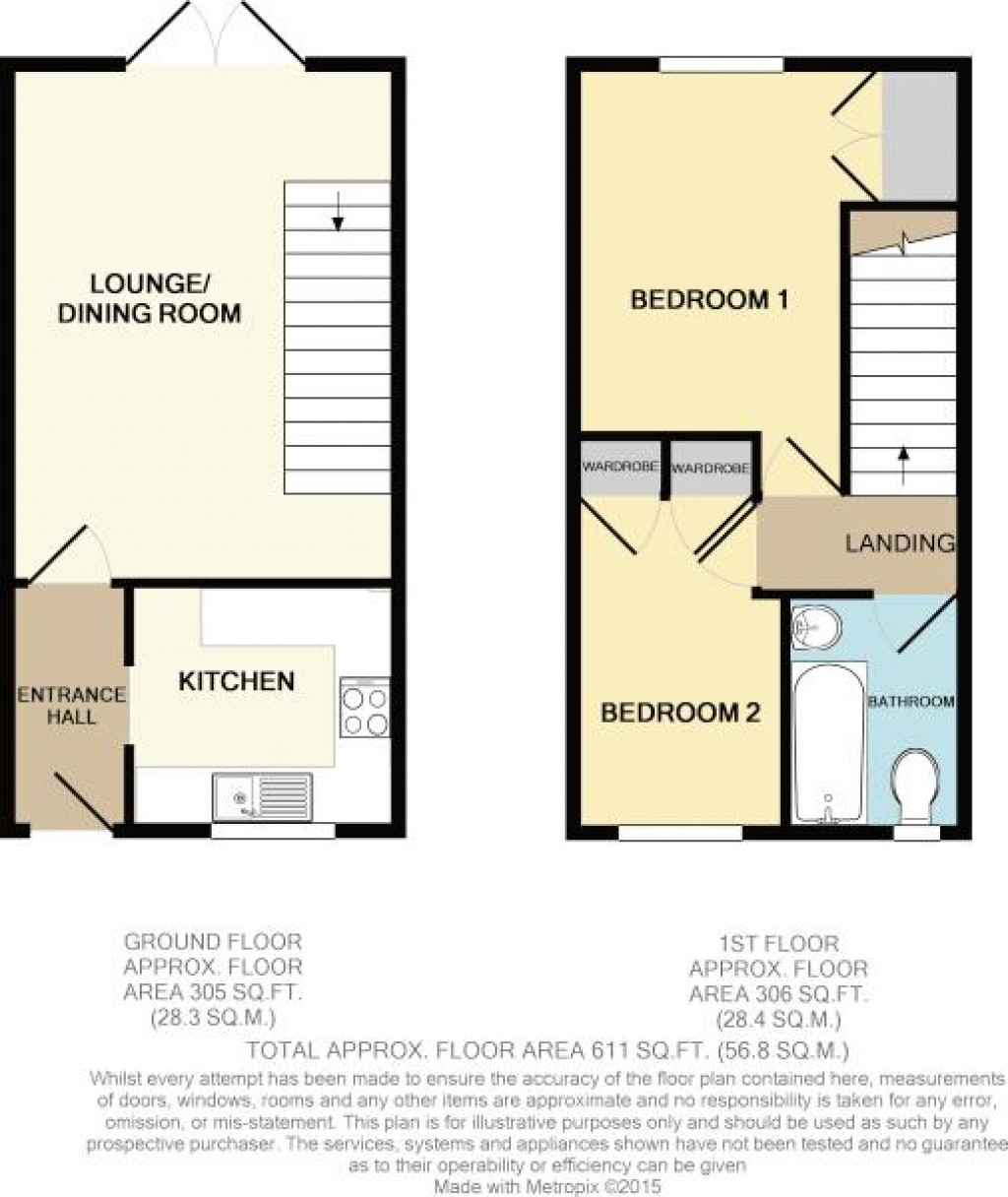 Floorplan for Dunedin Way, North Worle - 2 BEDS & GARAGE