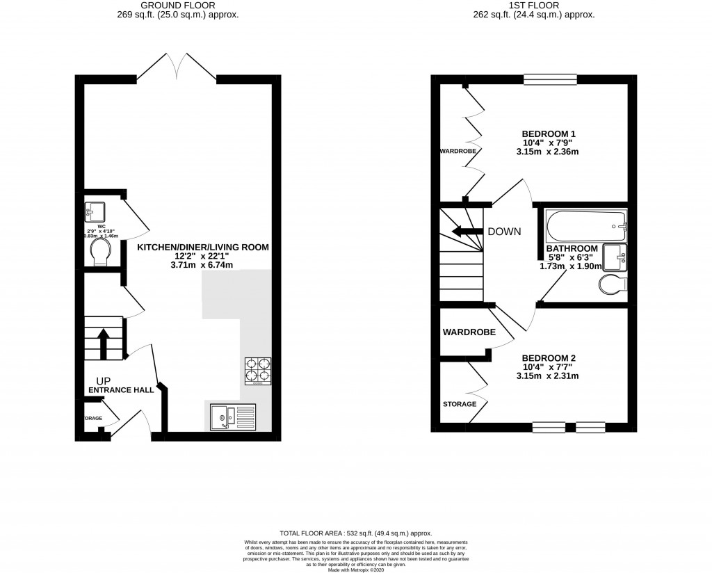 Floorplan for Mosquito End, Haywood Village - VERY LARGE GARDEN