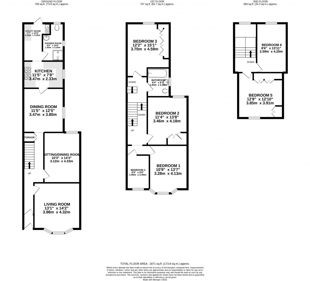 Floorplan for Moorland Road, Weston-Super-Mare - 6 BEDS & 3 RECEPTIONS
