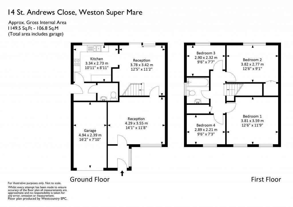 Floorplan for St. Andrews Close, Worle - 4 BEDS & NO CHAIN