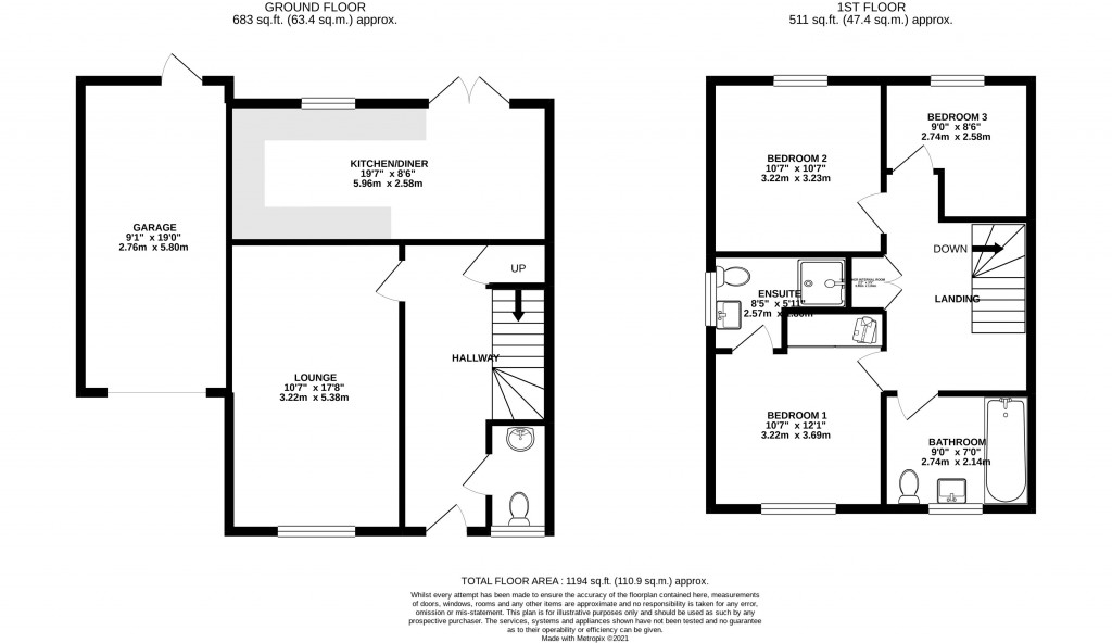 Floorplan for Turnock Gardens, WEST WICK - PERFECT FAMILY HOME
