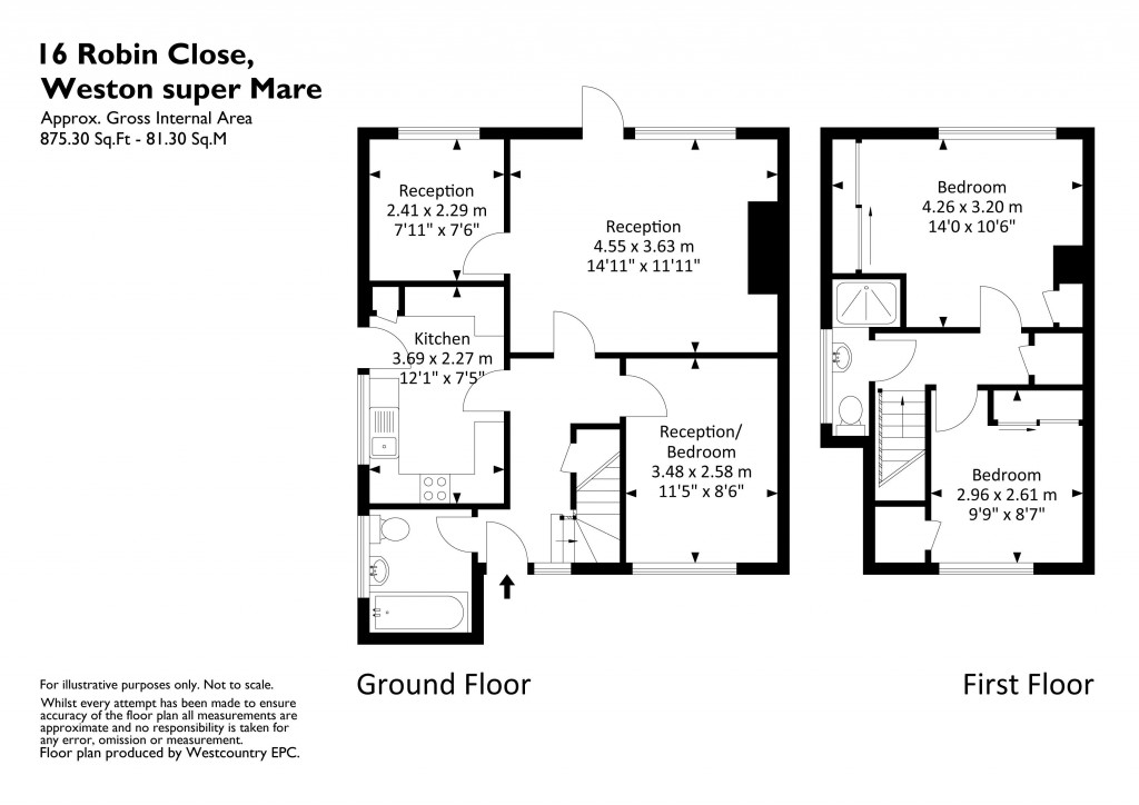 Floorplan for Robin Close, Worle - ROOMY CHALET STYLE SEMI