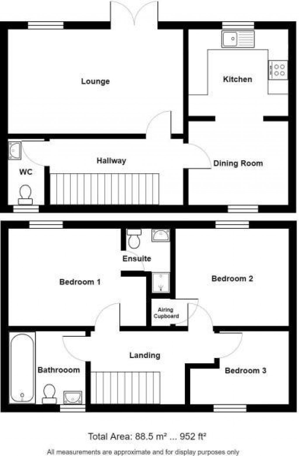Floorplan for Hestercombe Close, Weston Village - DETACHED HOUSE + SUNNY GARDEN