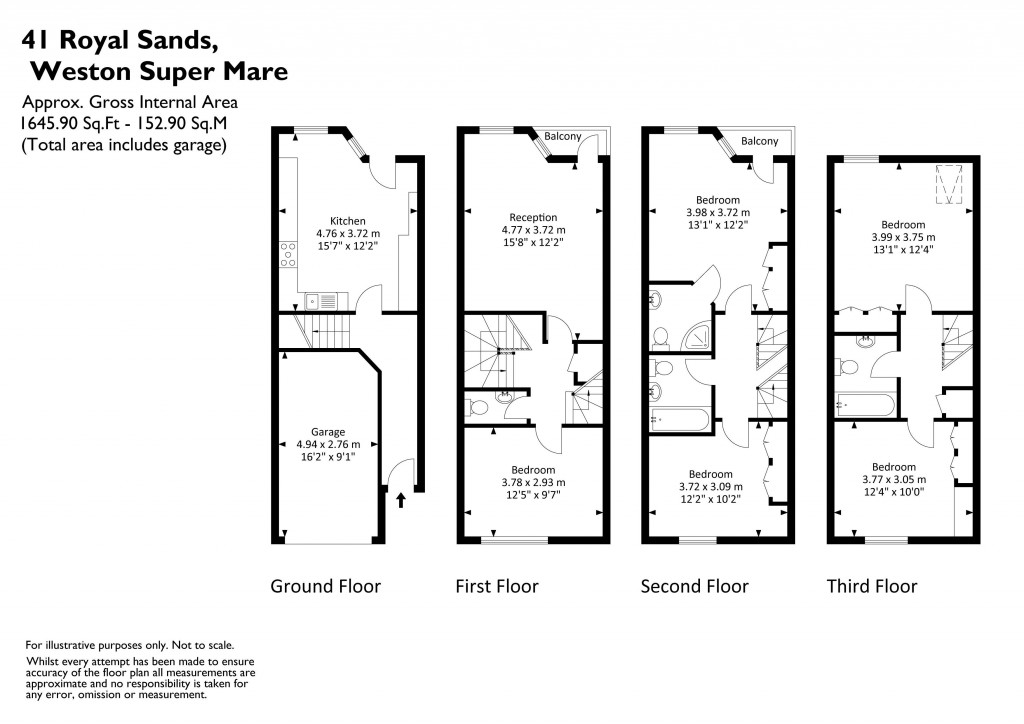 Floorplan for Royal Sands, Weston-Super-Mare - TOWN HOUSE FACING BEACH