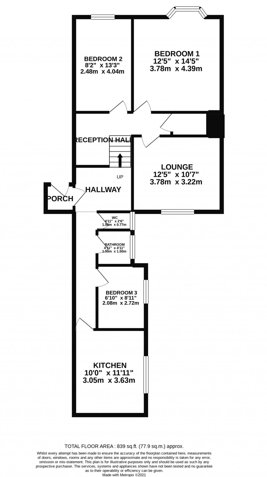 Floorplan for Clarendon Road, Weston-Super-Mare - 3 BED FLAT WITH GARAGE