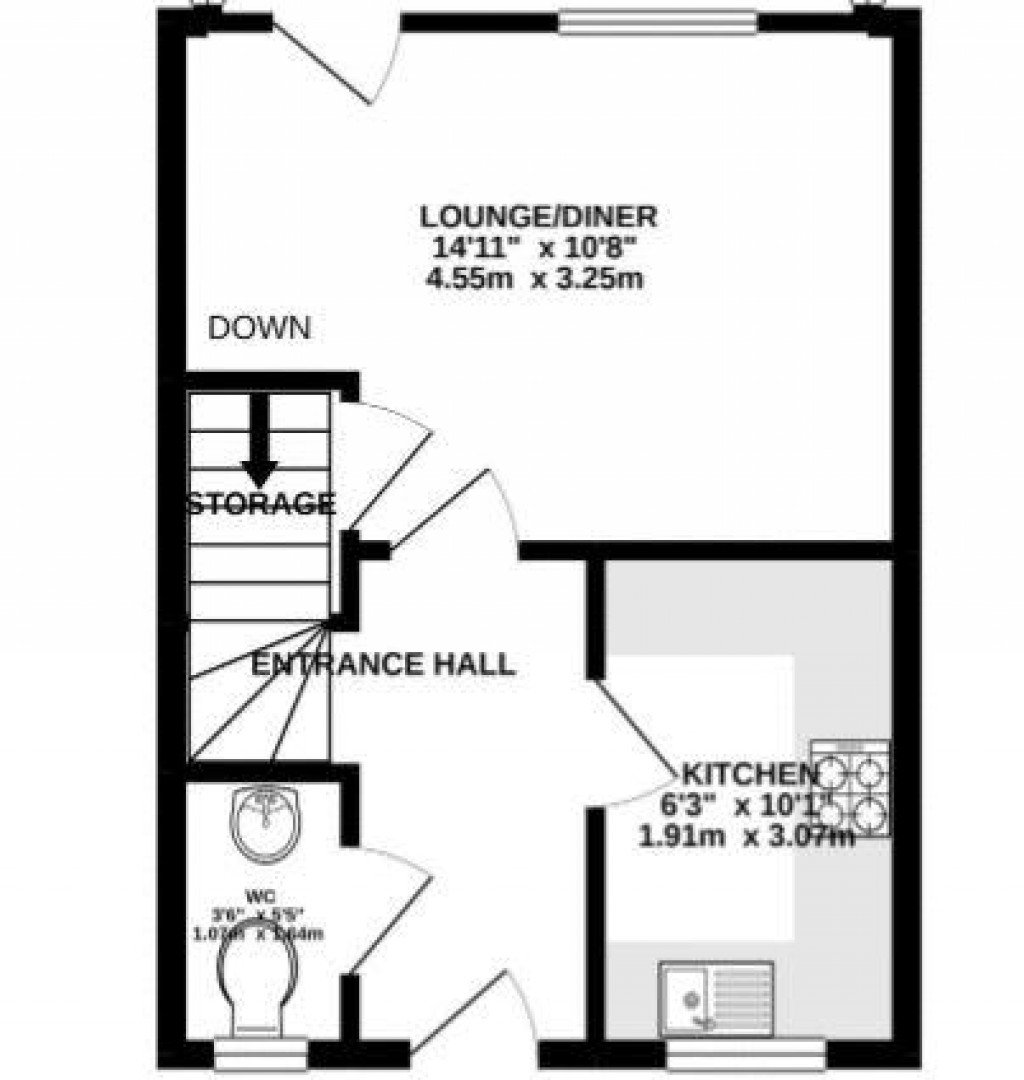 Floorplan for Irons Way, West Wick - 2 BEDS + GARAGE + NO CHAIN